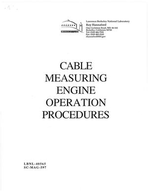 Primary view of object titled 'Cable Measuring Engine Operation Procedures'.