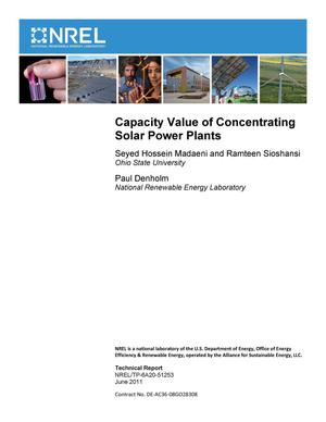 Primary view of object titled 'Capacity Value of Concentrating Solar Power Plants'.