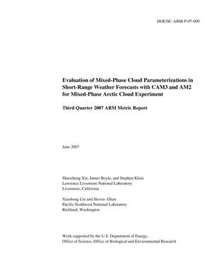 Primary view of object titled 'Evaluation of Mixed-Phase Cloud Parameterizations in Short-Range Weather Forecasts with CAM3 and AM2 for Mixed-Phase Arctic Cloud Experiment'.