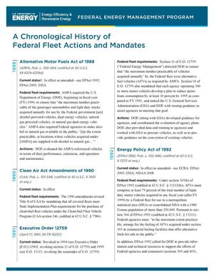 Primary view of object titled 'Chronological History of Federal Fleet Actions and Mandates (Brochure)'.