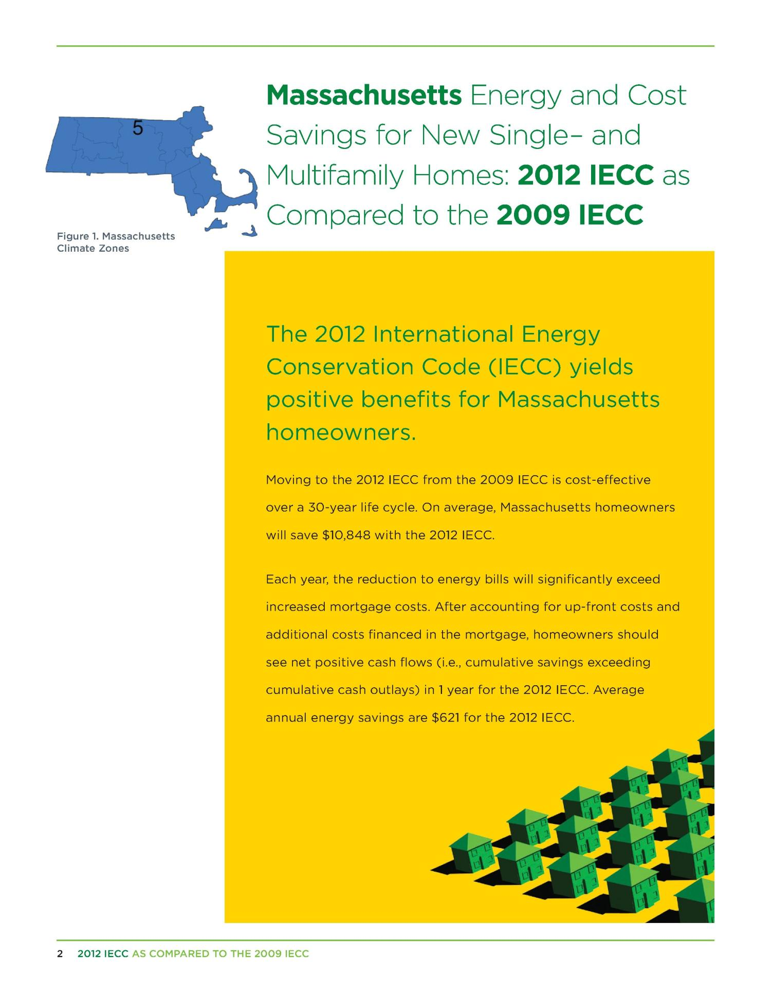 Massachusetts Energy and Cost Savings for New Single- and Multifamily Homes: 2012 IECC as Compared to the 2009 IECC                                                                                                      [Sequence #]: 2 of 13
