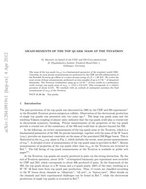 Primary view of object titled 'Measurements of the top quark mass at the Tevatron'.