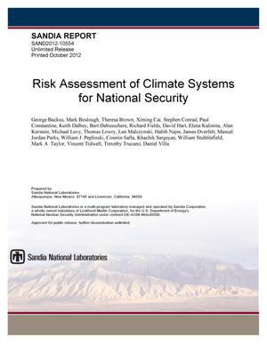 Primary view of object titled 'Risk assessment of climate systems for national security.'.