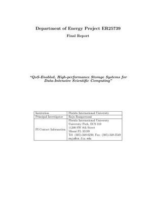 "Primary view of object titled 'Department of Energy Project ER25739 Final Report ""QoS-Enabled, High-performance Storage Systems for Data-Intensive Scientific Computing""'."
