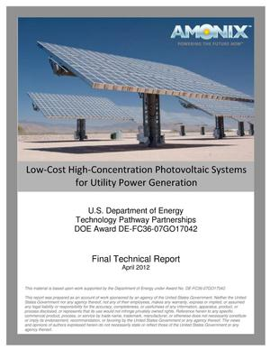 Primary view of object titled 'Low-Cost High-Concentration Photovoltaic Systems for Utility Power Generation'.
