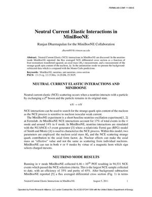 Primary view of object titled 'Neutral Current Elastic Interactions in MiniBooNE'.