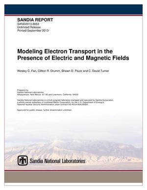 Primary view of object titled 'Modeling electron transport in the presence of electric and magnetic fields.'.