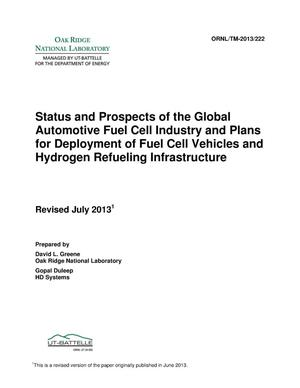 Primary view of object titled 'Status and Prospects of the Global Automotive Fuel Cell Industry and Plans for Deployment of Fuel Cell Vehicles and Hydrogen Refueling Infrastructure'.