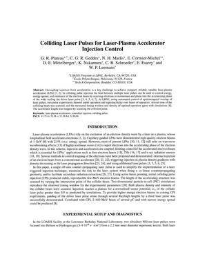 Primary view of object titled 'Colliding Laser Pulses for Laser-Plasma Accelerator Injection Control'.