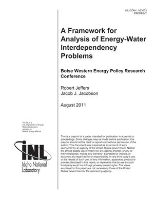 Primary view of object titled 'A Framework for Analysis of Energy-Water Interdependency Problems'.