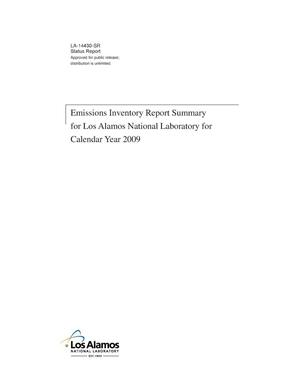 Primary view of object titled 'Emissions Inventory Report Summary for Los Alamos National Laboratory for Calendar Year 2009'.