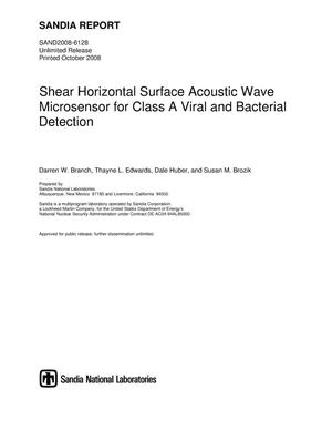 Primary view of object titled 'Shear horizontal surface acoustic wave microsensor for Class A viral and bacterial detection.'.