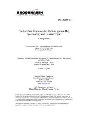 Primary view of object titled 'Nuclear Data Resources for Capture gamma-Ray Spectroscopy and Related Topics'.