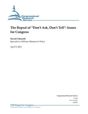 "The Repeal of ""Don't Ask, Don't Tell"": Issues for Congress"