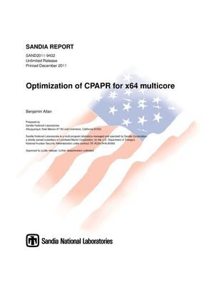 Primary view of object titled 'Optimization of CPAPR for x64 multicore.'.