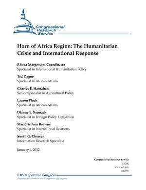Horn of Africa Region: The Humanitarian Crisis and International Response