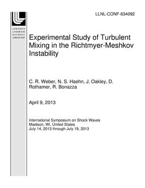 Primary view of object titled 'Experimental Study of Turbulent Mixing in the Richtmyer-Meshkov Instability'.