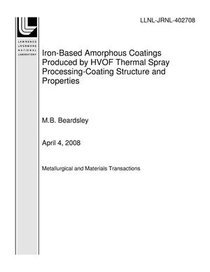 Primary view of object titled 'Iron-Based Amorphous Coatings Produced by HVOF Thermal Spray Processing-Coating Structure and Properties'.