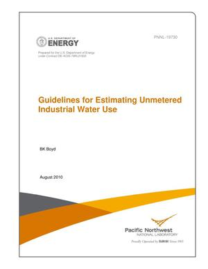 Primary view of object titled 'Guidelines for Estimating Unmetered Industrial Water Use'.