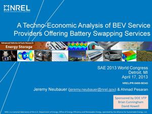 Primary view of object titled 'Techno-Economic Analysis of BEV Service Providers Offering Battery Swapping Services (Presentation)'.