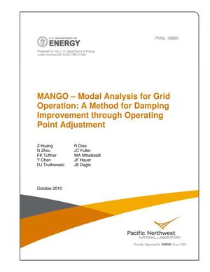Primary view of object titled 'MANGO – Modal Analysis for Grid Operation: A Method for Damping Improvement through Operating Point Adjustment'.