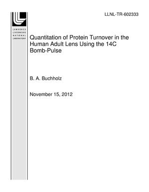 Primary view of object titled 'Quantitation of Protein Turnover in the Human Adult Lens Using the 14C Bomb-Pulse'.