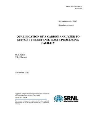 Primary view of object titled 'Qualification of a Carbon Analyzer to Support the Defense Waste Processing Facility'.