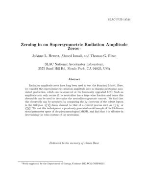 Primary view of object titled 'Zeroing in on Supersymmetric Radiation Amplitude Zeros'.