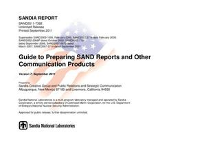 Primary view of object titled 'Guide to preparing SAND reports and other communication products.'.