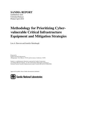 Primary view of object titled 'Methodology for prioritizing cyber-vulnerable critical infrastructure equipment and mitigation strategies.'.