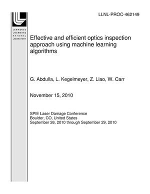 Primary view of object titled 'Effective and efficient optics inspection approach using machine learning algorithms'.