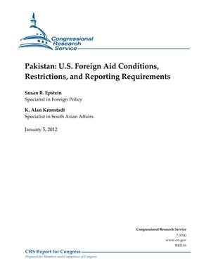 Pakistan: U.S. Foreign Aid Conditions, Restrictions, and Reporting Requirements