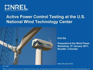 Primary view of object titled 'Active Power Control Testing at the U.S. National Wind Technology Center (NWTC) (Presentation)'.