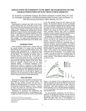Primary view of object titled 'Application of Coherent Tune Shift Measurements to the Characterization of Electron Cloud Growth'.