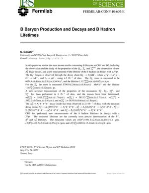 Primary view of object titled 'B baryon production and decays and B hadron lifetimes'.