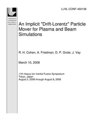 "Primary view of object titled 'An Implicit ""Drift-Lorentz"" Particle Mover for Plasma and Beam Simulations'."