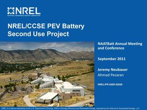 Primary view of object titled 'NREL/CCSE PEV Battery Second Use Project (Presentation)'.