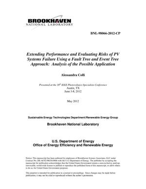 Primary view of object titled 'Extending Performance and Evaluating Risks of PV Systems Failure Using a Fault Tree and Event Tree Approach: Analysis of the Possible Application'.