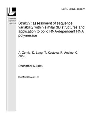 Primary view of object titled 'StralSV: assessment of sequence variability within similar 3D structures and application to polio RNA-dependent RNA polymerase'.