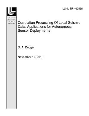 Primary view of object titled 'Correlation Processing Of Local Seismic Data: Applications for Autonomous Sensor Deployments'.