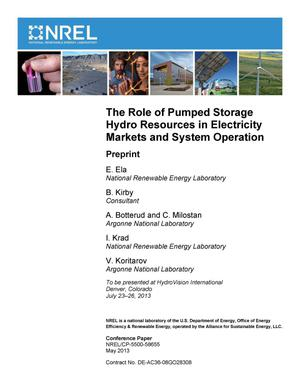 Primary view of object titled 'Role of Pumped Storage Hydro Resources in Electricity Markets and System Operation: Preprint'.