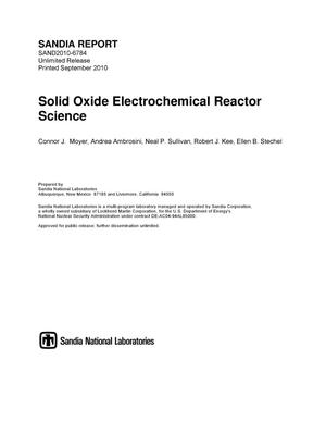 Primary view of object titled 'Solid oxide electrochemical reactor science.'.