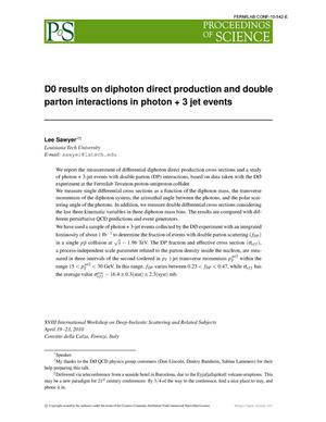Primary view of object titled 'D0 results on diphoton direct production and double parton interactions in photon + 3 jet events'.