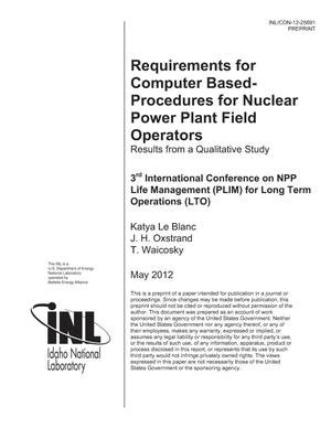 Primary view of object titled 'Requirements for Computer Based-Procedures for Nuclear Power Plant Field Operators Results from a Qualitative Study'.