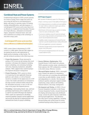 Primary view of object titled 'Combined Heat and Power Systems (CHP): Capabilities (Fact Sheet)'.