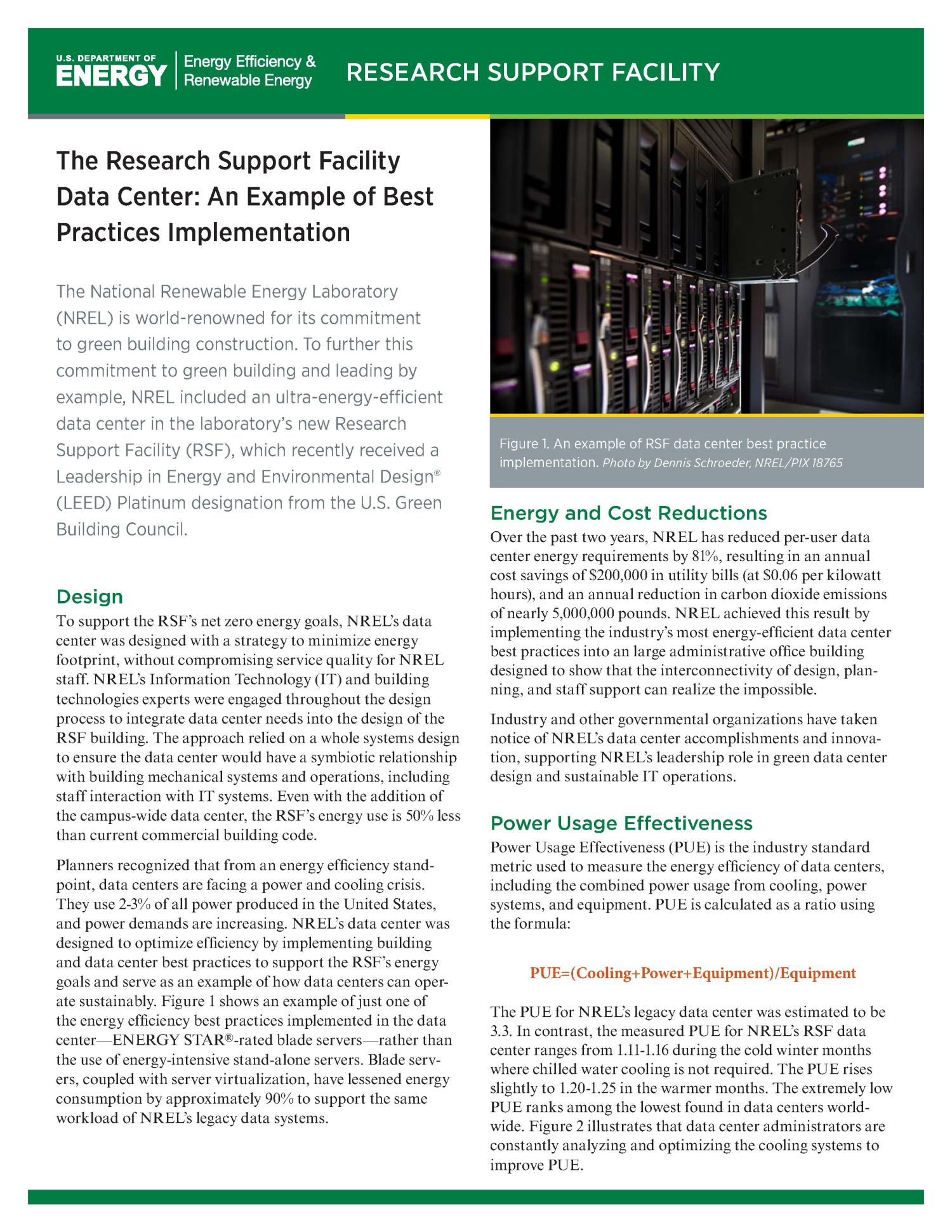 Research Support Facility Data Center An Example Of Best Practices Implementation Brochure Unt Digital Library