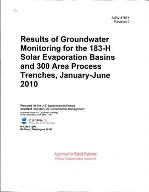 Primary view of object titled 'RESULTS OF GROUNDWATER MONITORING FOR THE 183-H SOLAR EVAPORATION BASINS AND 300 AREA PROCESS TRENCHES JANUARY-JUNE 2010'.
