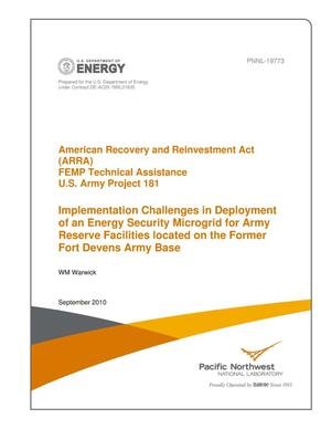 Primary view of object titled 'American Recovery and Reinvestment Act (ARRA) FEMP Technical Assistance U.S. Army Project 181 Implementation Challenges in Deployment of an Energy Security Microgrid for Army Reserve Facilities located on the Former Fort Devens Army Base'.