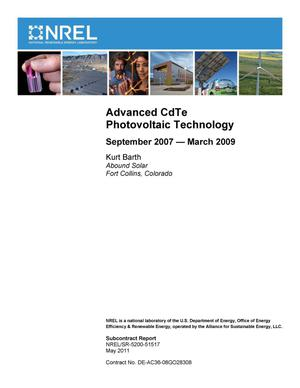 Primary view of object titled 'Advanced CdTe Photovoltaic Technology: September 2007 - March 2009'.