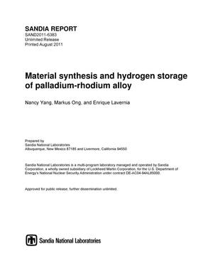 Primary view of object titled 'Material synthesis and hydrogen storage of palladium-rhodium alloy.'.